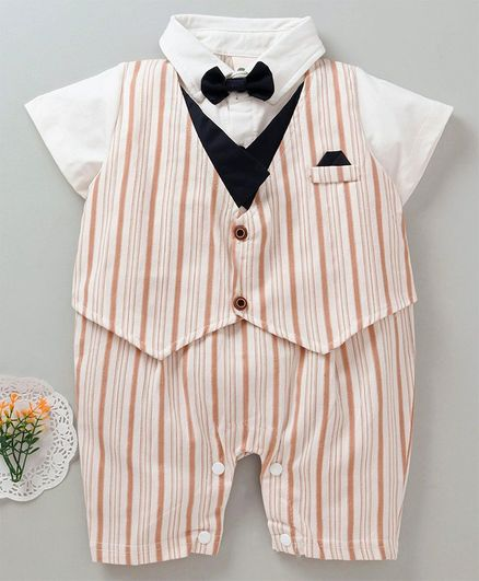 60f21d0fd4920 Buy Kookie Kids Striped Party Wear Romper With Bow Cream for Boys (0-3  Months) Online in India, Shop at FirstCry.com - 2628543