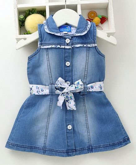 f6ad51112c9 Buy Chicklets Solid Sleeveless Collar Dress With Belt Blue for Girls (3 ...