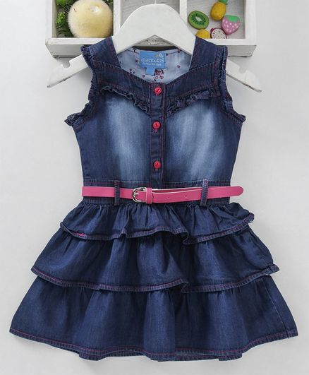 ea0a3d73d43 Buy Chicklets Solid Sleeveless Layered Denim Dress With Belt Dark ...