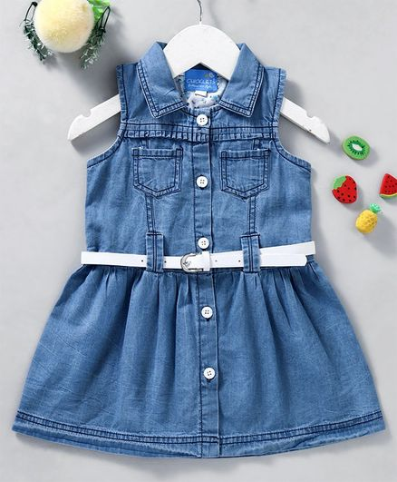 7bcbb323bca Buy Chicklets Solid Sleeveless Collar Dress With Belt Light Blue for ...