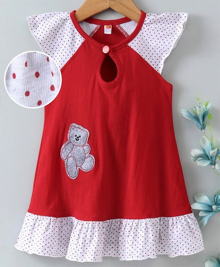 Dew Drops Cap Sleeves Frock Bear Patch - Red