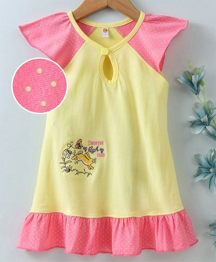 Dew Drops Cap Sleeves Frock Bunny & Butterfly Embroidery - Yellow Pink