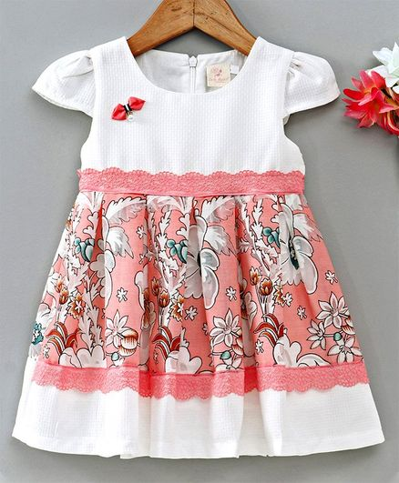 Smile Rabbit Cap Sleeves Frock Floral Print - White & Peach