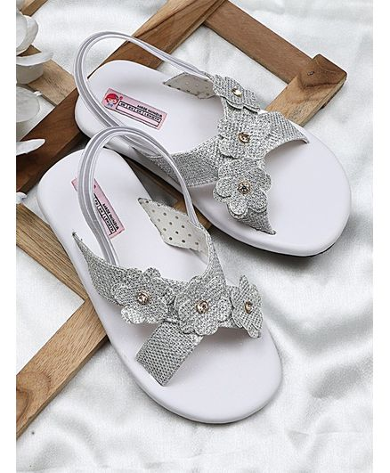 8f93234f17b Buy Dchica Flower Applique Sandals Silver for Girls (2-3 Years ...