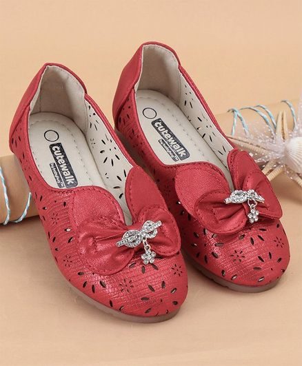 Cute Walk by Babyhug Party Wear Belly Shoes Bow Applique - Red