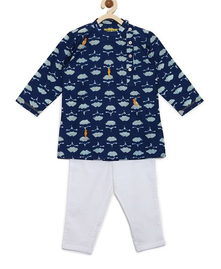 Tiber Taber Full Sleeves Flower Print Kurta & Pajama Set - Blue & White