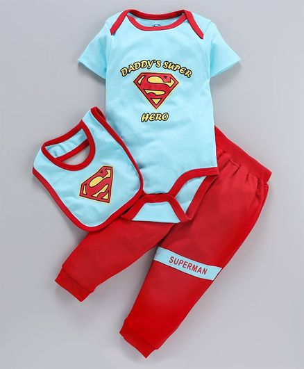 Mom's Love Half Sleeves Onesie Leggings & Bib Superman Print - Aqua Blue
