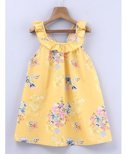 b44688c4b806e Buy Beebay Floral Print Ruffled Neck Sleeveless Dress Yellow for Girls (3-6  Months) Online in India, Shop at FirstCry.com - 2636486
