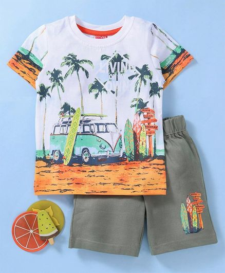 c88a7e41 Babyhug Half Sleeves Tee & Shorts Set Graphic Print - White Orange