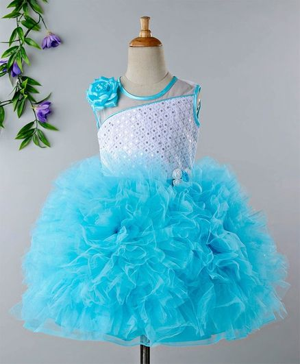 63087a5044e Buy Babyhug Sleeveless Party Frock 3D Flower Corsage Blue for Girls ...