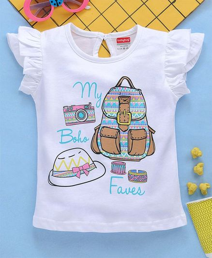 Babyhug Cap Sleeves Tee With Frills Boho Print - White