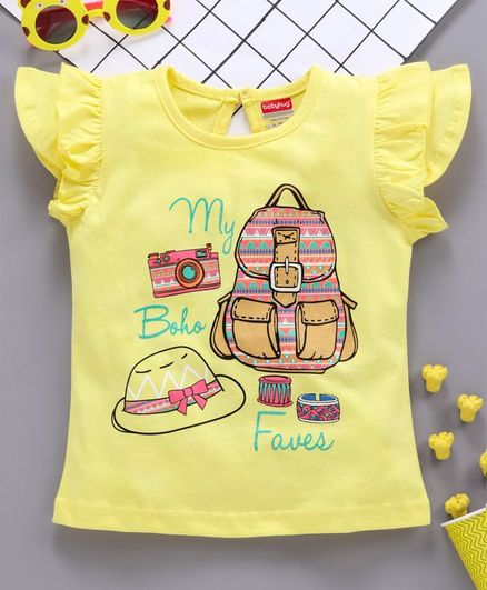 Babyhug Cap Sleeves Tee With Frills Boho Print - Yellow