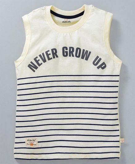 Buy Olio Kids Sleeveless Striped TShirt Text Print Cream for Boys (18-24  Months) Online in India, Shop at FirstCry com - 2639296