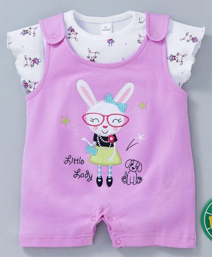 Olio Kids Romper With Inner Short Sleeves Tee Bunny Print & Patch - Lavender