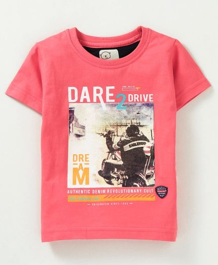 Olio Kids Half Sleeves Tee Graphic Print - Coral