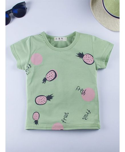 b61f7a147173 Buy Kidofash Pineapple Print Half Sleeves TShirt Green for Boys (0-6 ...