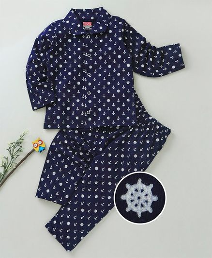 Babyhug Full Sleeves Cotton Night Suit Anchor Print - Navy Blue