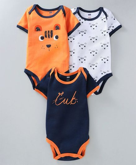 Buy Simply Half Sleeves Onesies Animal Print Pack of 3 Orange Navy for Both  (3-6 Months) Online in India, Shop at FirstCry com - 2645346
