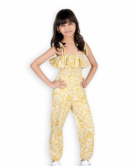 f1896e6006 Buy Olele Flower Printed Sleeveless Jumpsuit Yellow for Girls (3-4 Years)  Online in India, Shop at FirstCry.com - 2646487