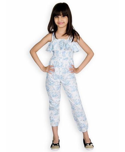 30f0a24a3 Buy Olele Flower Printed Sleeveless Jumpsuit Blue for Girls (4-5 ...