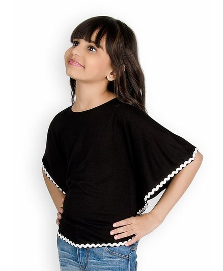 ac2a0ccfadc1f4 Buy Olele Lace Hem Half Sleeves Top Black for Girls (4-5 Years ...