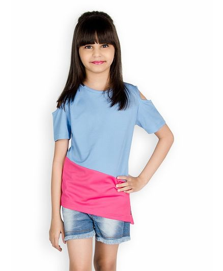 0f12a14989259 Buy Olele Half Sleeves Color Block Cold Shoulder Tee With Shorts ...
