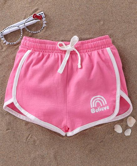 Fox Baby Shorts With Drawstring Believe Print - Light Pink