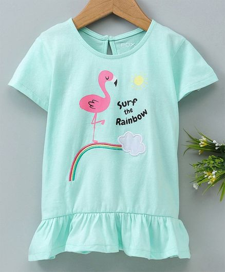 465efd01f0f9 Buy Fox Baby Half Sleeves Top Flamingo Print Sea Green for Girls (3 ...