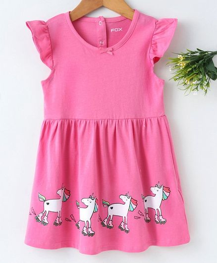 de0b082522fc6 Buy Fox Baby Cap Sleeves Frock Unicorn Print Pink for Girls (2-3 Years)  Online in India, Shop at FirstCry.com - 2649655