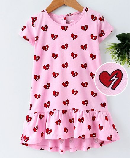 Fox Baby Short Sleeves Frock Heart Print - Light Pink