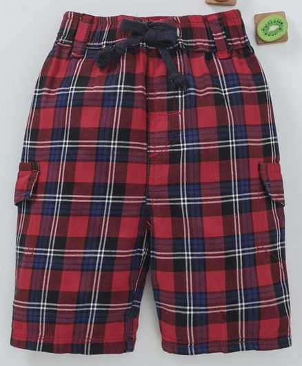 Olio Kids Tartan Bermuda Shorts - Red Blue