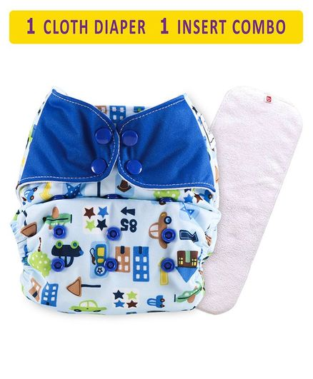 Babyhug Free Size Reusable Cloth Diaper With Insert Vehicle Print - Blue