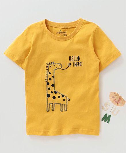 f41b7bd59 Buy Kookie Kids Half Sleeves TShirt Giraffe Embroidery Yellow for ...