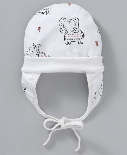 adb8a6892 Ben Benny Cap With Ear Flaps & Knot Elephant Print White Online in India,  Buy at Best Price from Firstcry.com - 2654640