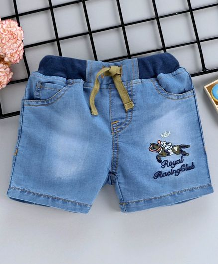 4e97fcf410 ToffyHouse Monkey Wash Print Denim Shorts With Adjustable Elastic Waist -  Blue