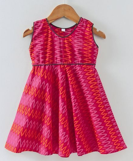 7a52f35ae7873 Buy Kidcetra Zig Zag Printed Sleeveless Dress Pink for Girls (3-4 Years)  Online in India, Shop at FirstCry.com - 2656466