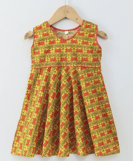 Kidcetra All Over Lotus Printed Sleeveless Dress - Yellow