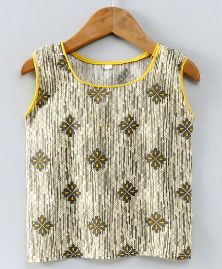 Kidcetra Sleeveless Block Printed Top - Yellow