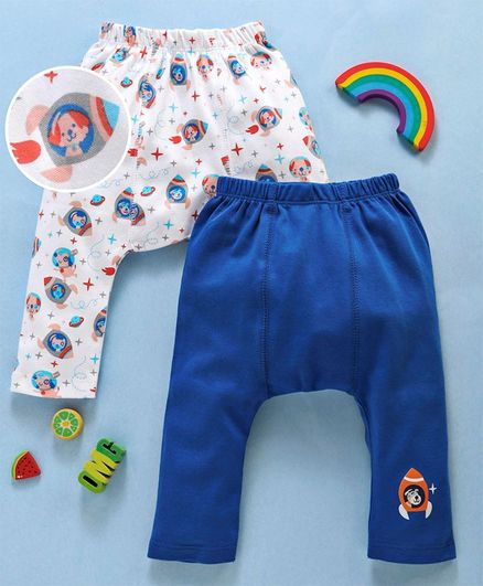 Babyhug Cotton Diaper Leggings Rocket Print Pack of 2 - White Blue