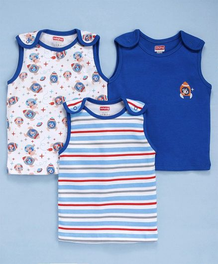 Babyhug Cotton Sleeveless Tees Pack of 3 Multi Print - White Blue
