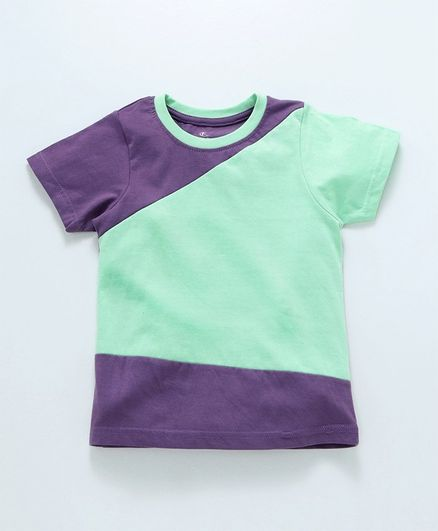 Kiddopanti Short Sleeves Color Block Tee - Green & Purple