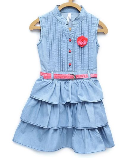 4dec9481980 StyleStone Sleeveless Front Buttoned Layered Dress With Belt - Light Blue