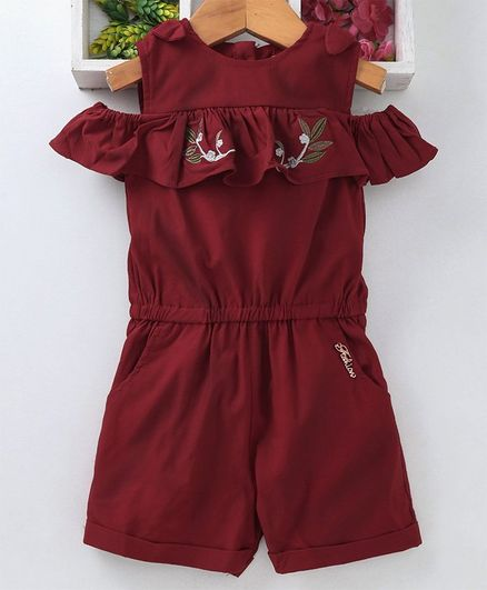 1e15e23e067c8 Buy TBB Cold Shoulder Romper Leaf Embroidery Maroon for Girls (0-3 Months)  Online in India, Shop at FirstCry.com - 2662886