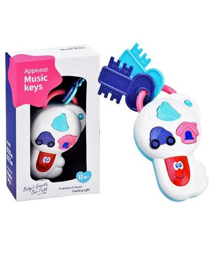 Emob Baby Pretend Play Musical Key Rattle With Lights - Multicolour