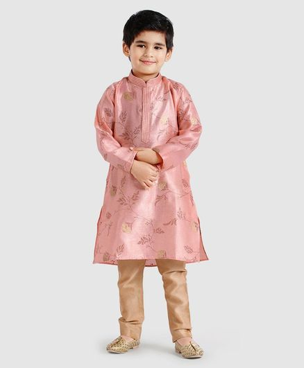 177a6e9a62c Dapper Dudes Flower Print Full Sleeves Kurta   Churidar Set - Peach