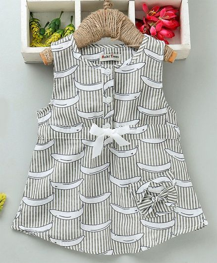 89aa30c8e34fe Buy Reiki Trees Striped Sleeveless Frock Banana Print Grey for Girls (6-9  Months) Online in India, Shop at FirstCry.com - 2665123