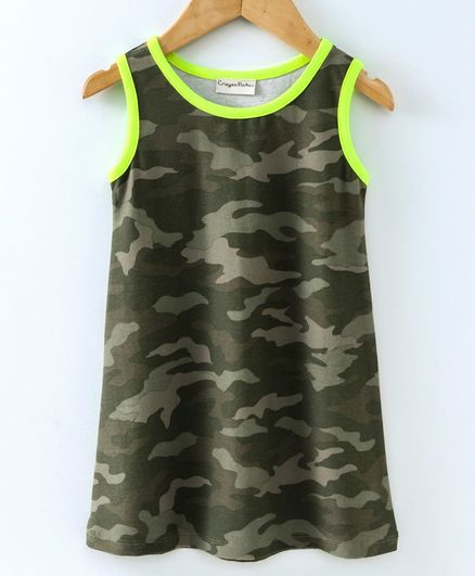 291da109335 Buy Crayonflakes Sleeveless Camouflage Print Straight Cut Dress ...