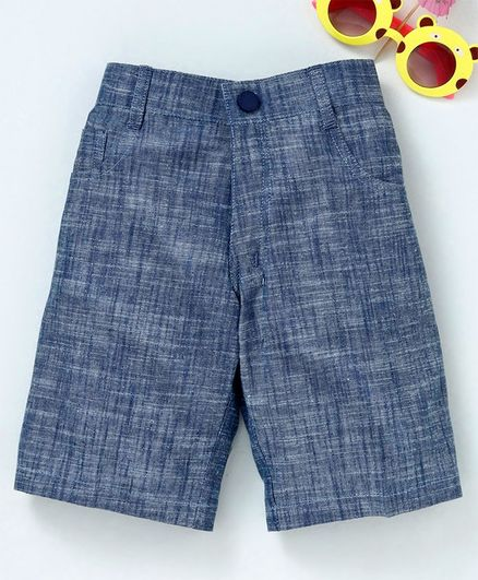 Rikidoos Solid Front Button Shorts - Blue