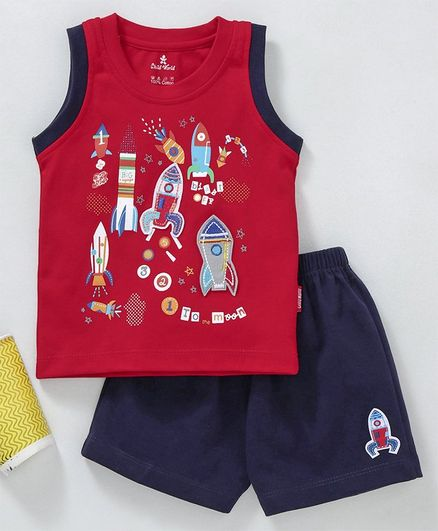 Child World Sleeveless Tee With Shorts Rocket Print - Red