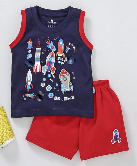 Child World Sleeveless Tee With Shorts Rocket Print - Navy